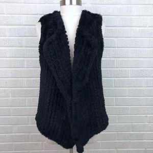 Nanette Lepore Faux Fur Drape Front Black Vest - L
